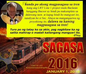 """A reminder of Aquino's 'promise' in return for increasing train fares and privatizing LRT  1 (Photo grabbed from social media site of """"Noynoy Aquino - King Of Lies"""")"""