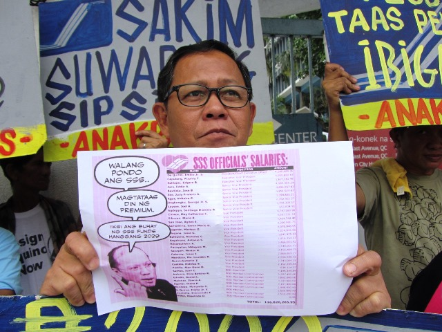 Anakpawis Rep. Fernando Hicap shows a list detailing the salaries of SSS executives, board of directors. (Photo by M. Salamat)