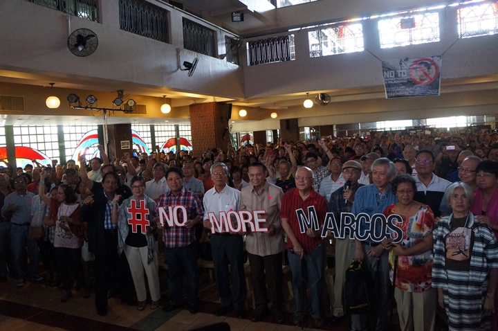 Martial law activists, victims and relatives vow to keep Sen. Ferdinand Marcos Jr. from winning vice presidency bid (Photo by J. Ellao / Bulatlat.com)