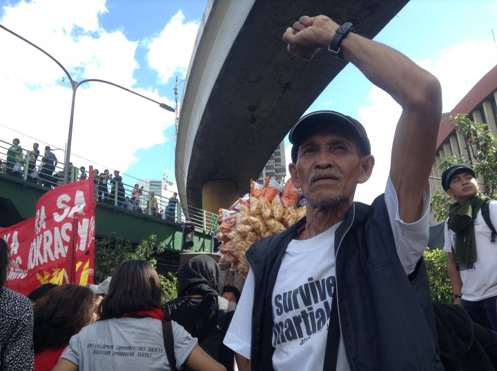 Pedro Gonzales joins rally to commemorate EDSA 30th anniversary (Photo by J. Ellao / Bulatlat.com)