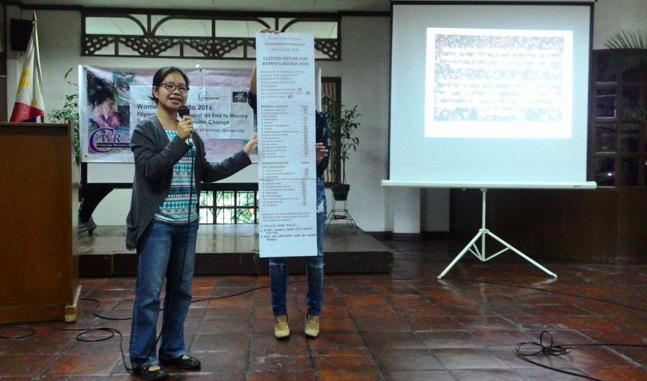 In a mock election held during the Ulat Lila 2016 report, top demands of women are economic security, health and education. (Photo by A. Umil/ Bulatlat)