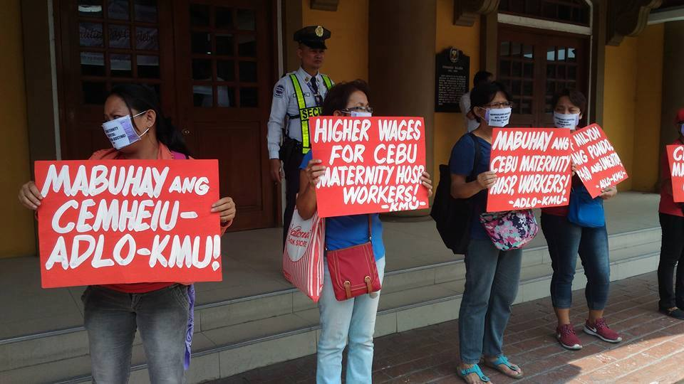 Kilusang Mayo Uno members protesting in front of the Department of Labor and Employment as support to the health workers of Cebu Maternity Hospital. (Contributed photo)