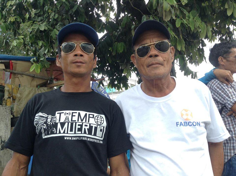 Sugar workers Gilbert Bautista and Edgardo Magbanua call for justice for Kidapawan farmers (Photo by J. Ellao / Bulatlat.com)