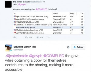 A screenshot being shared in Facebook showing Malacañang has downloaded the leaked voters' info