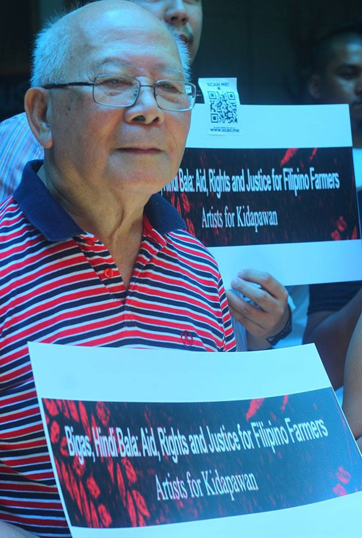 National Artist for Literature Bienvenido Lumbera calls on fellow artists to answer the call for militant aid to peasants during the launch of Artists for Kidapawan, May 2, in Quezon City. (Photo by Ronalyn V. Olea/ Bulatlat)