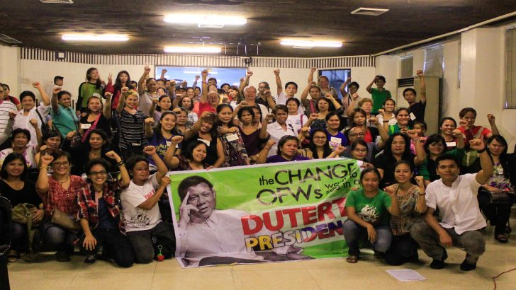 OFW group calls on incoming Duterte gov't to scrap abusive policies