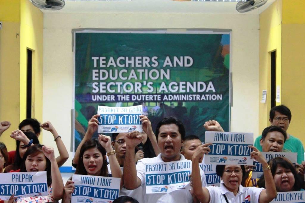 Public school teachers under the Alliance of Concerned Teachers  pose their eight-point agenda to President-elect Rodrigo Duterte. (Contributed photo)