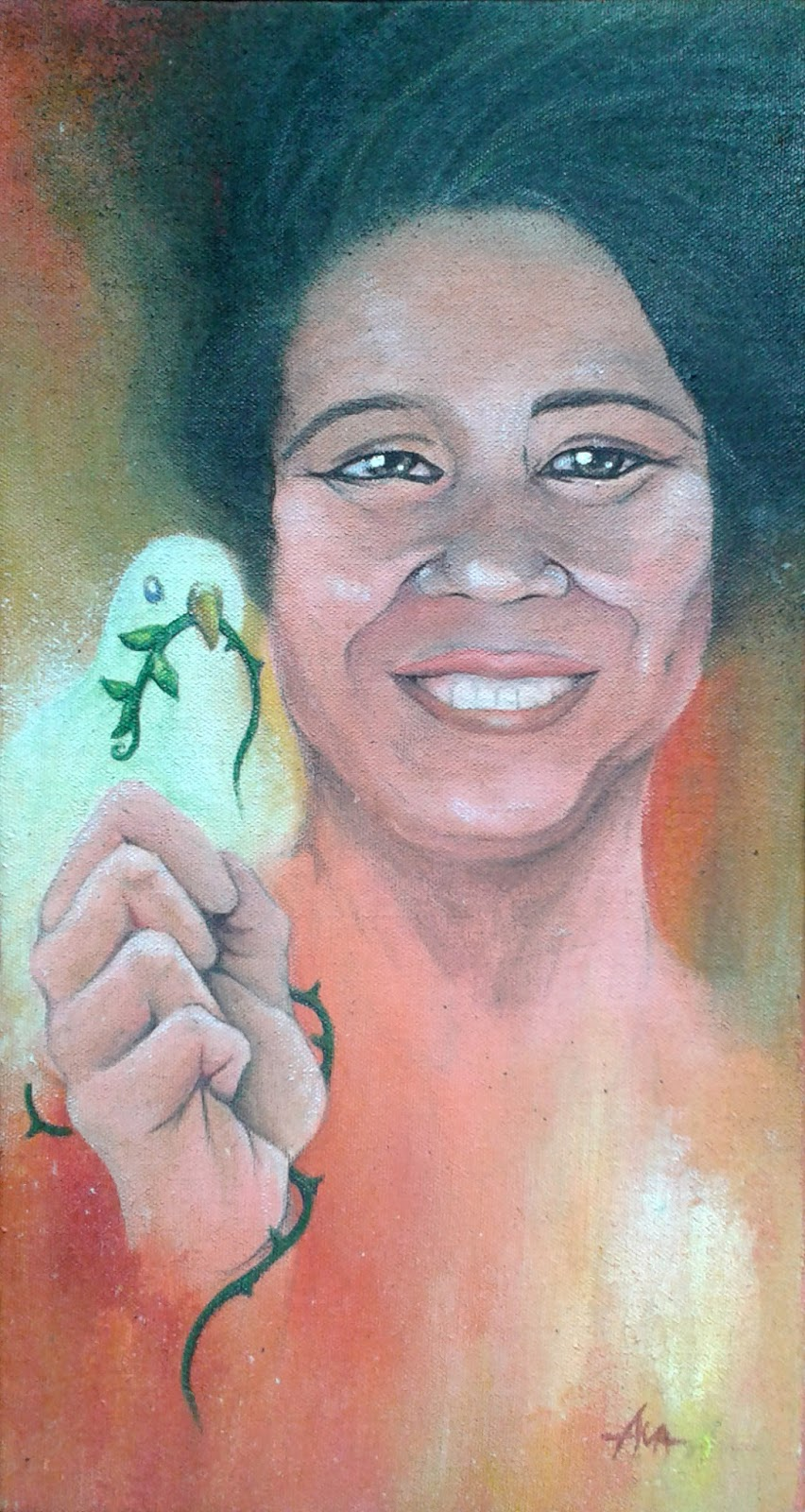 """""""Ang tunay na Evelyn,"""" portrait of Evelyn Legaspi, acrylic on canvass painted by Glenda Maye Abad, and shown at the PortrAYAL art exhibit in Junly 2015. Contributed photo"""