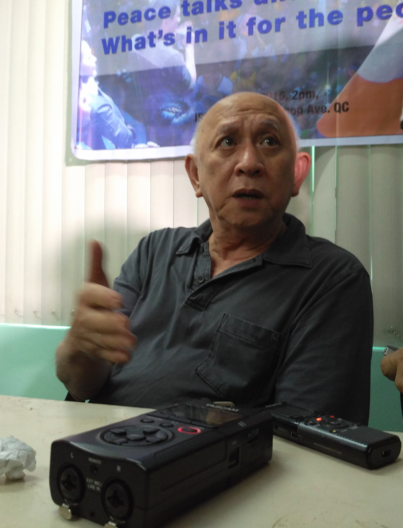 Fidel Agcaoili, a member of the negotiating panel of the National Democratic Front of the Philippines (NDFP), says the Left will push for the 'substantial socio-economic reforms.' (Photo by Ronalyn V. Olea / Bulatlat)