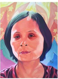 """""""Ka Loida,"""" portrait of Loida Magpatoc, an acrylic on canvass painting by Boy Dominguez, shown at the PortrAYAL art exhibit in Junly 2015. Contributed photo"""