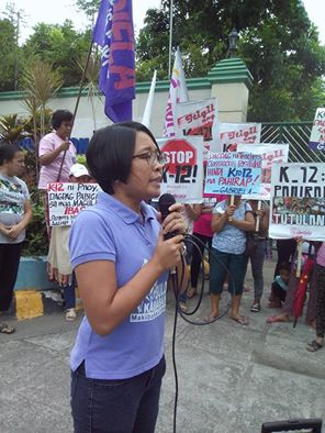 Gabriela deputy secretary Misty Lorin during the protest rally in front of the Department of Education. (Photo grabbed from Gabriela's official Facebook page)