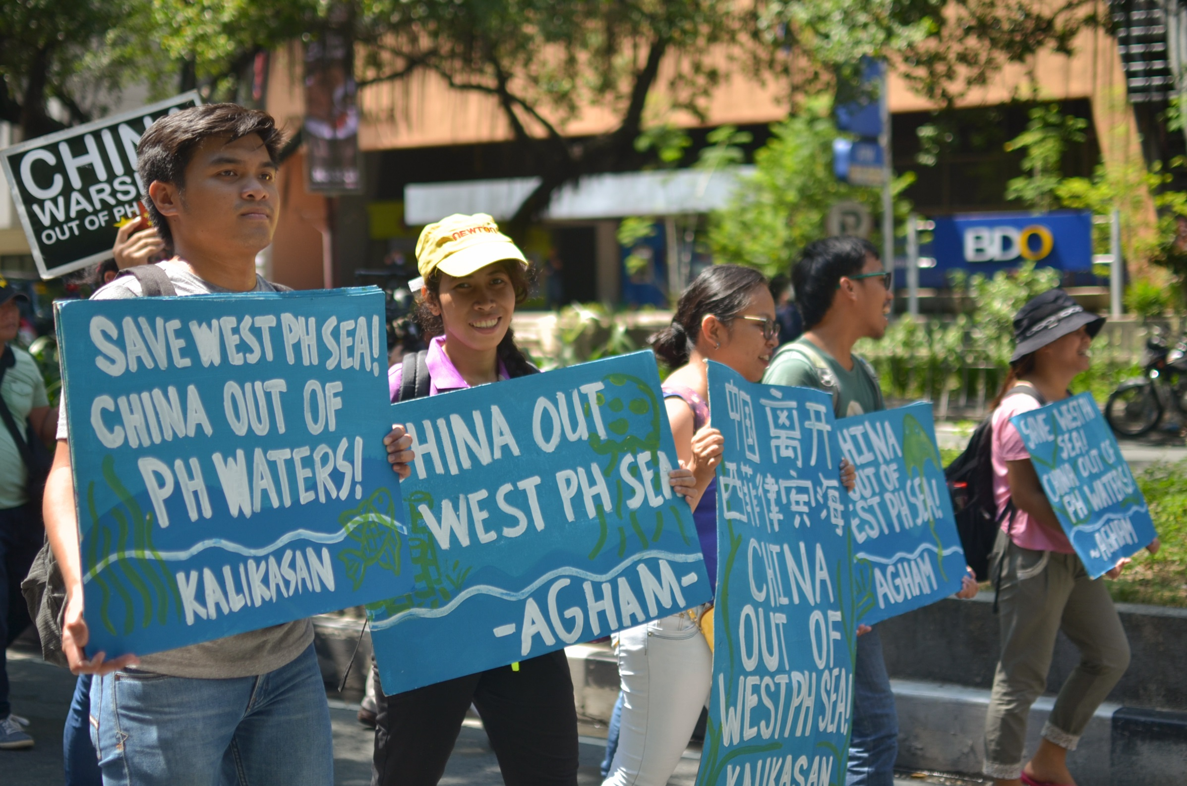 Environmentalist groups join Agham and Kalikasan PNE join the protest at the Chinese Consulate July 12 (Photo by Carlo Manalansan/Bulatlat)