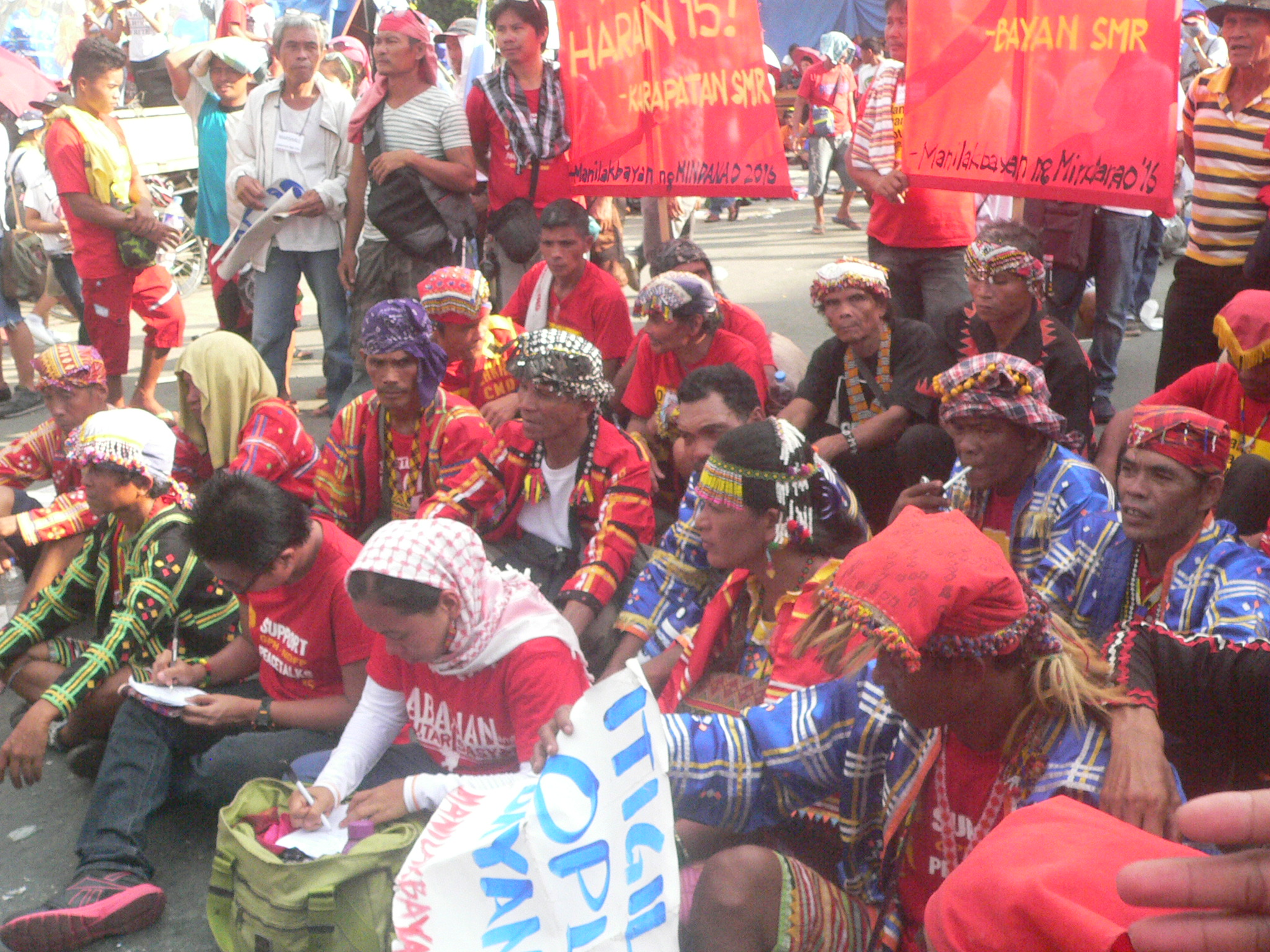 Lumad and Moro leaders listened to the SONA (Photo by Dee Ayroso/Bulatlat)
