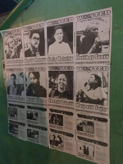 Wanted posters of the 15 activists were being posted in Davao City. (Photo grabbed from Stella Estremera's Facebook page)