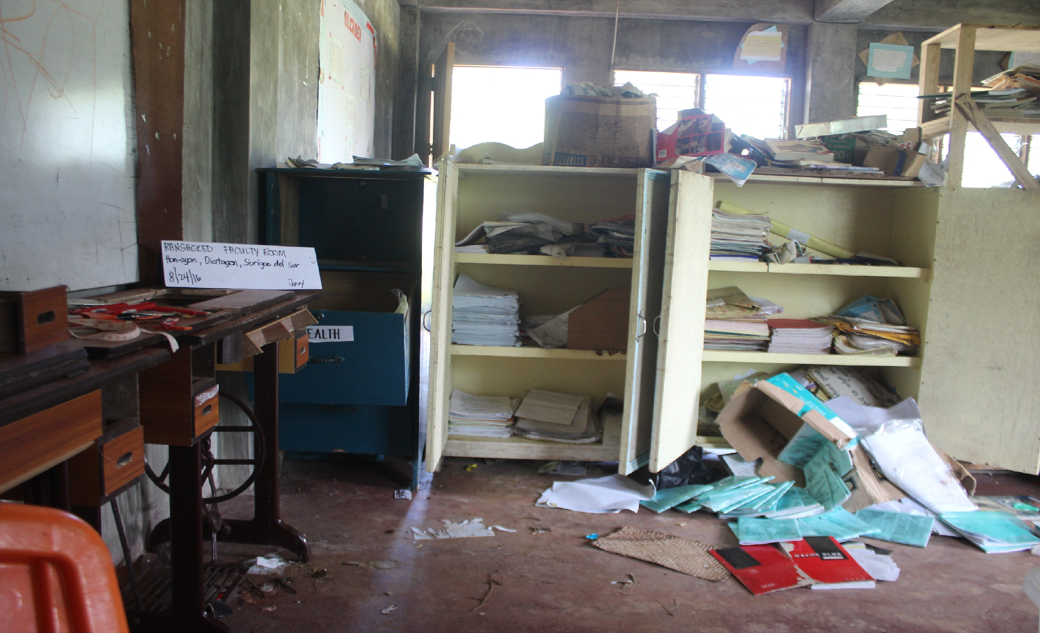 The ransacked Alcadev faculty room (Contributed photo)