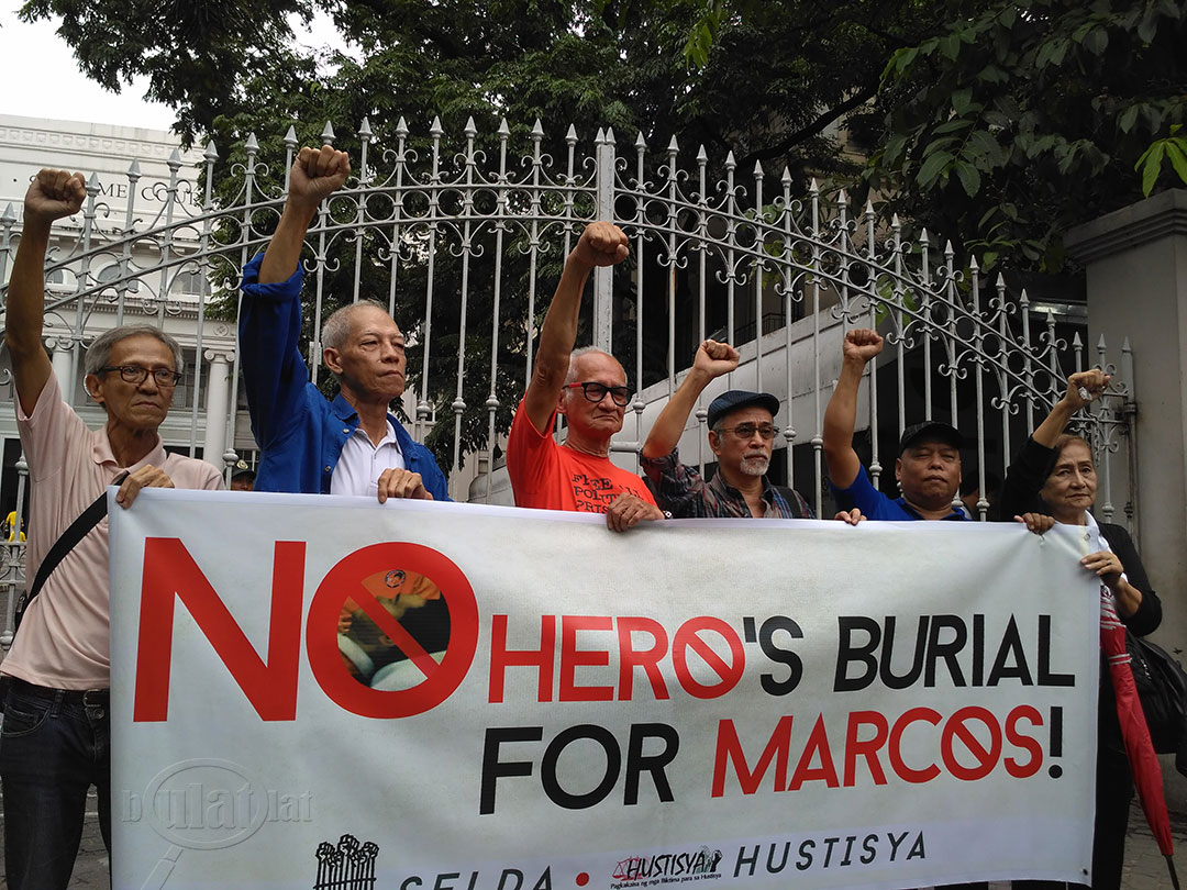 (L-R) Martial law survivors Danny dela Fuente, Felix Dalisay, Rodolfo del Rosario, Bonifacio Ilagan, Fr. Dionito Cabillas and Carmencita Florentino urge the public to oppose the plan to give the late dictator Ferdinand Marcos a hero's burial. (Photo by Ronalyn V. Olea / Bulatlat)
