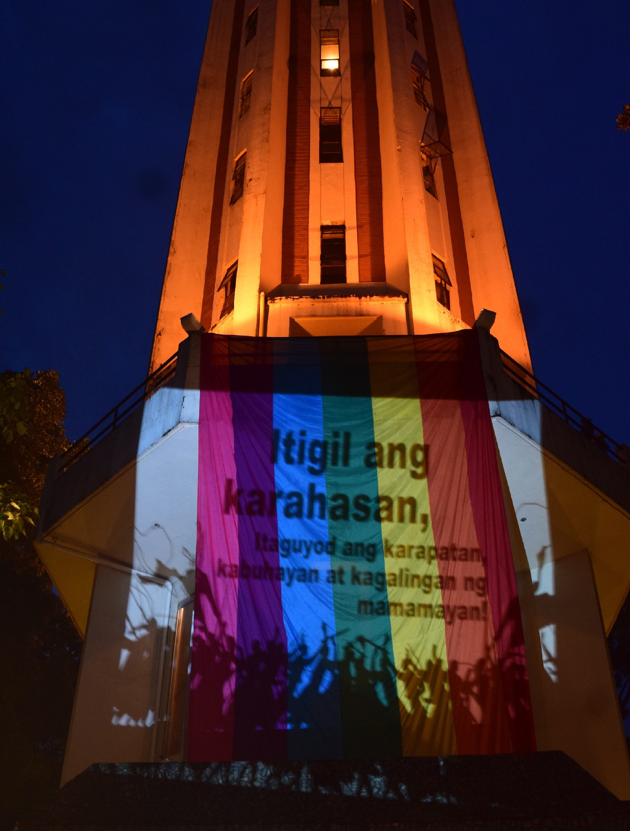 "The UP Carillon Bell tower took on rainbow colors for the ""Kalembang Kontra Bang-bang"" campaign (Photo courtesy of Aaron Bonnette)"