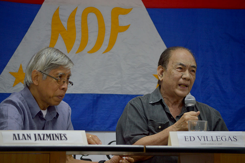 NDFP consultants Alan Jazmines and Ed Villegas (Photo courtesy of Pher Pasion/Pinoy Weekly)