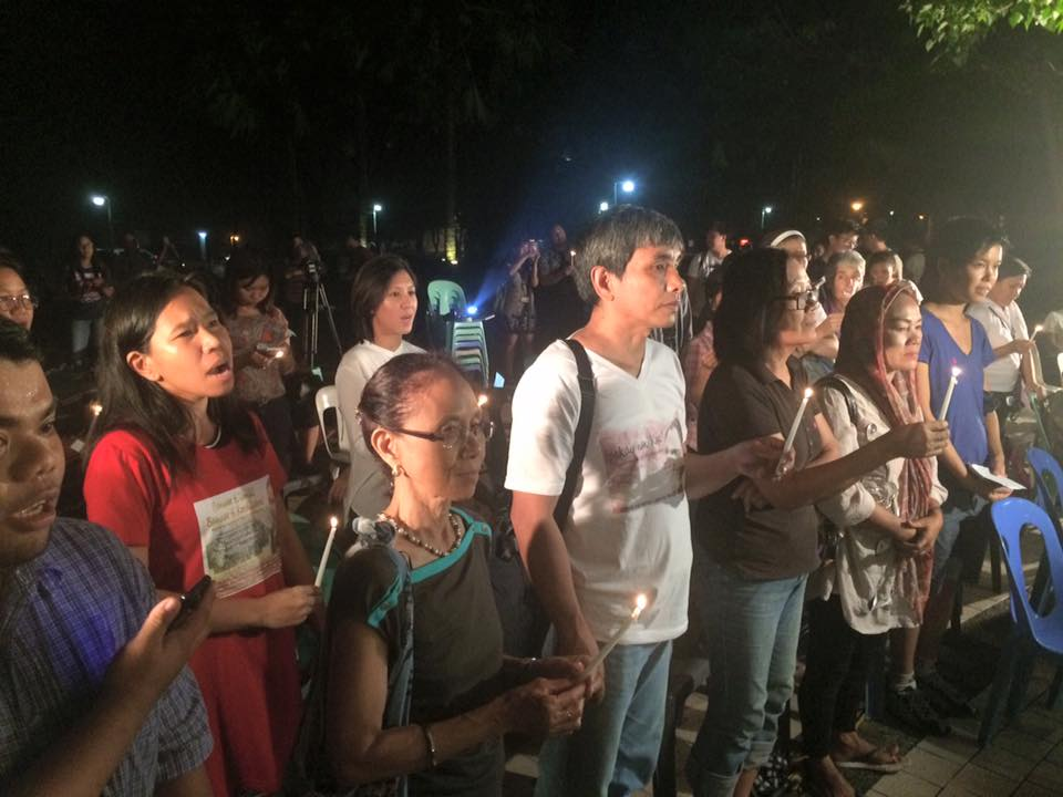 Among those who attended the gathering were NDFP peace consultants Concha Araneta-Bocala and Kennedy Bangibang. Bangibang's wife Recca Monte was an NPA rebel suspected to have been captured and killed in military operations in Abra in 2014 . (Photo grabbed from the Facebook account of UP Diliman University Student Council)