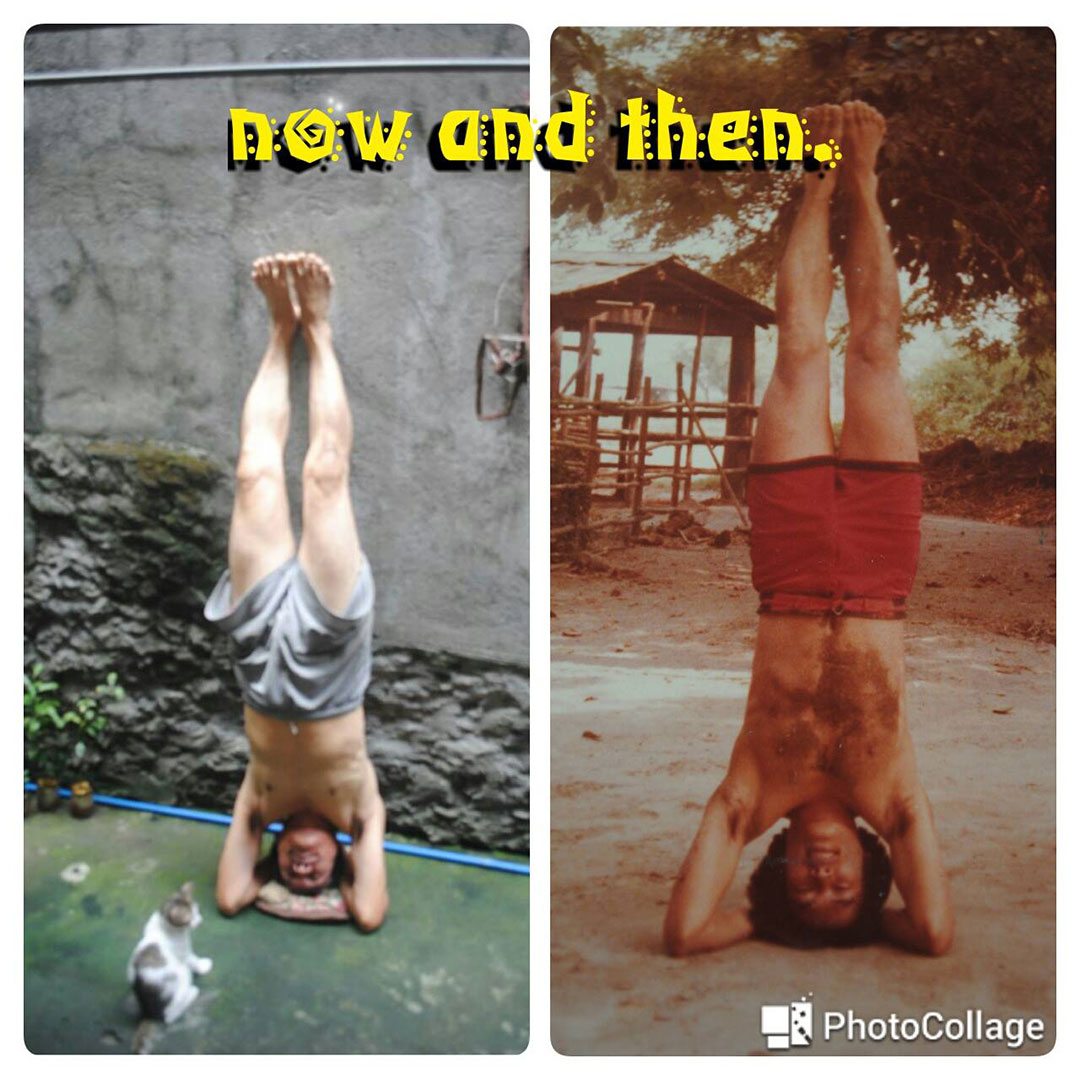 Yoga has helped Lito Ocampo fight mental stress. Left photo was taken in August this year. Right photo shows Ocampo doing a head stand sometime in 1983. (Contributed photo)