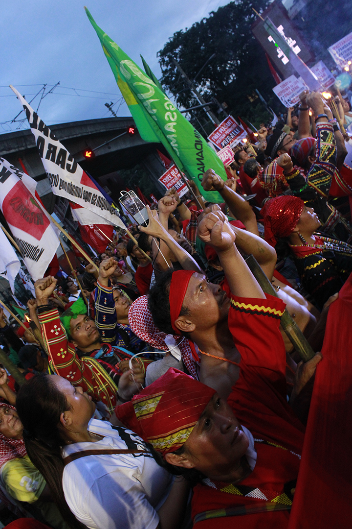 Indigenous peoples protest the continued implementation of laws that are detrimental to lives of Indigenous Peoples in the Philippines. (Photo Ken Bautista)