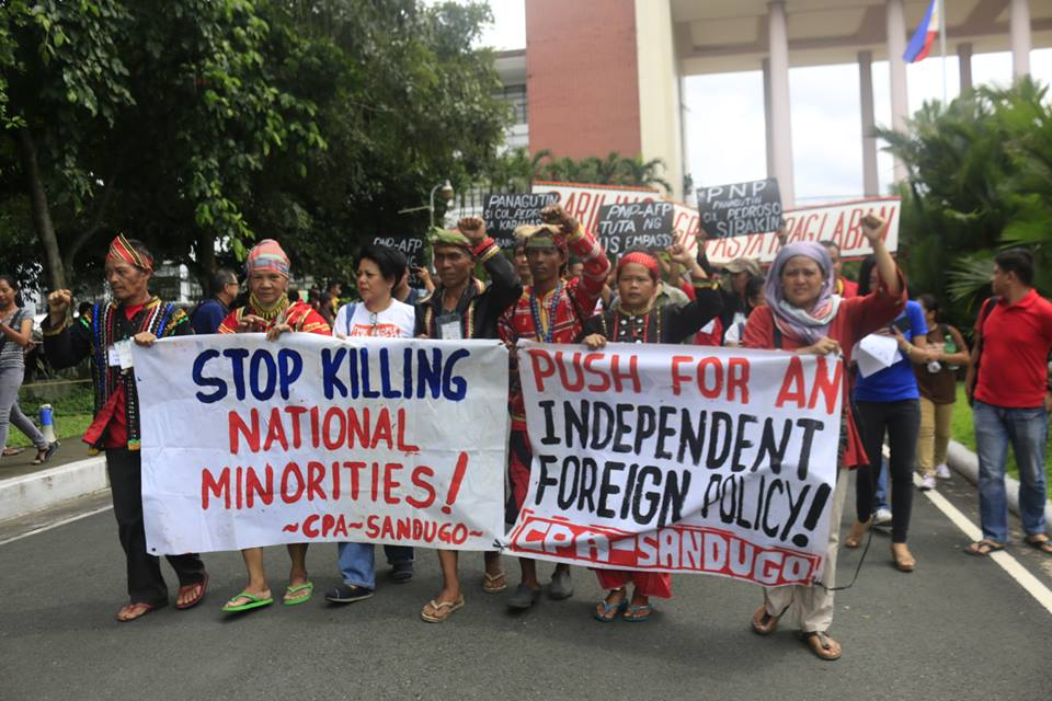 Sandugo at an indignation rally in UP Diliman on Oct. 20, the day after the violent dispersal outside the US embassy. (Photo by Kitanglad Multimedia Collective)