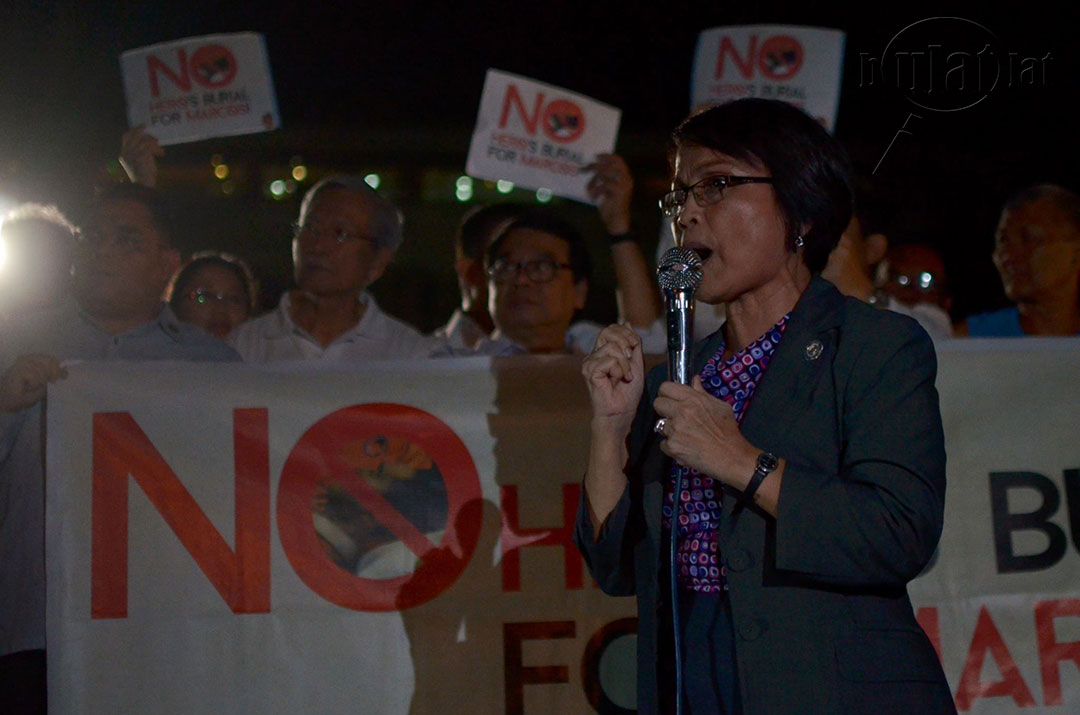 "Gabriela Women's Party Rep. Emmi de Jesus slams the Marcoses for bastardizing the words ""hero"" and ""justice."" (Photo by Loi Manalansan / Bulatlat)"