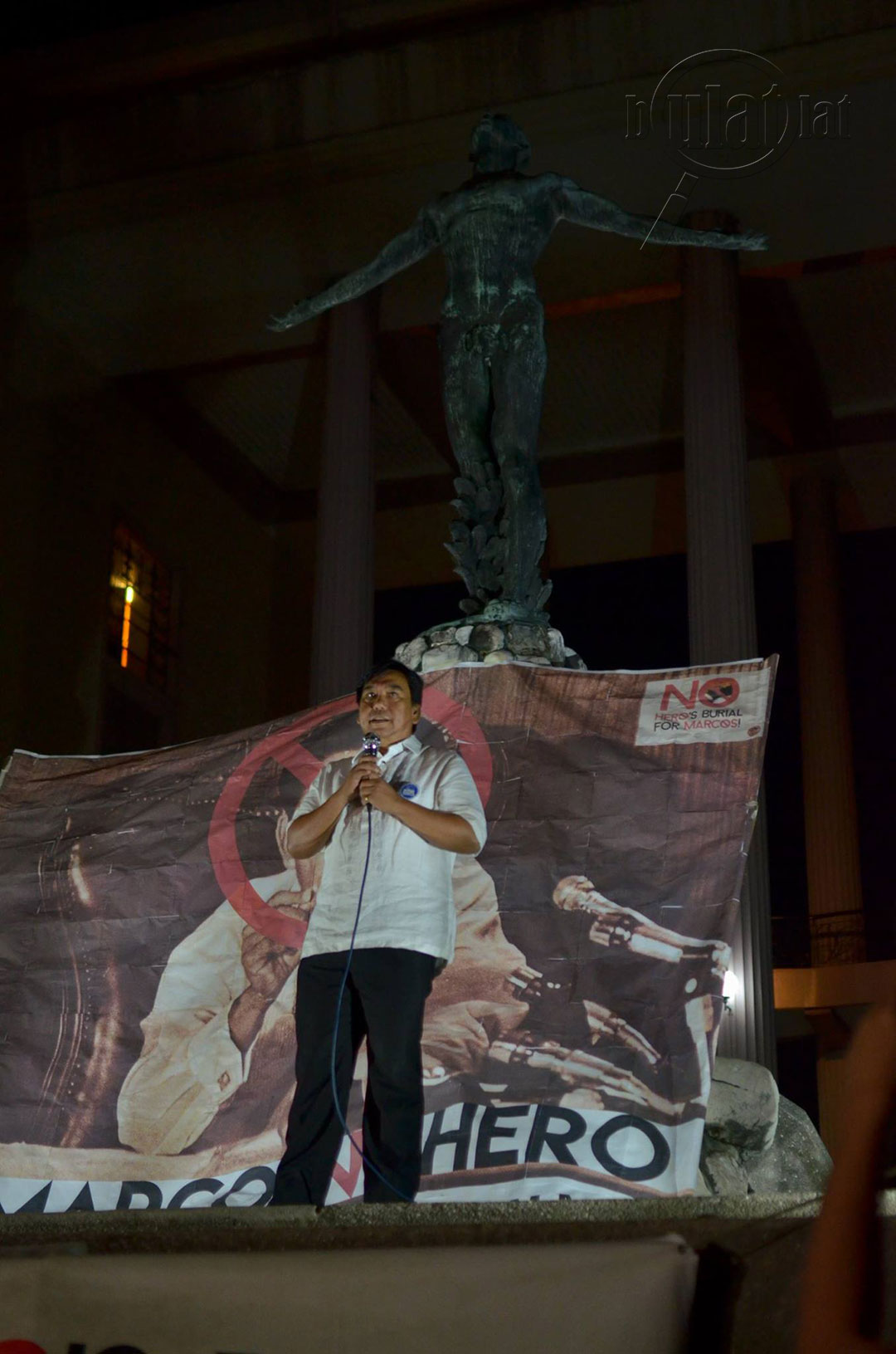 Ephraim Cortez, secretary general of the National Union of Peoples' Lawyers (NUPL) insists various jurisprudences declare Ferdinand Marcos a dictator and plunderer. (Photo by Loi Manalansan / Bulatlat)