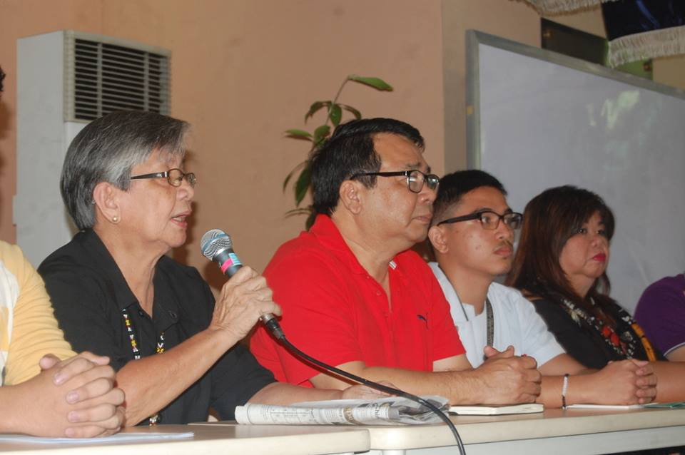"""Be constantly aware that there is a threat over our heads."" (L-R) Edita Burgos, widow of press freedom icon Joe Burgos, former Bayan Muna Rep. Neri Colmenares of Carmma, Leonard Javier, chairperson of UP Medicine Student Council, and satirist Mae Paner (Photo by Mon Ramirez/Arkibong Bayan)"