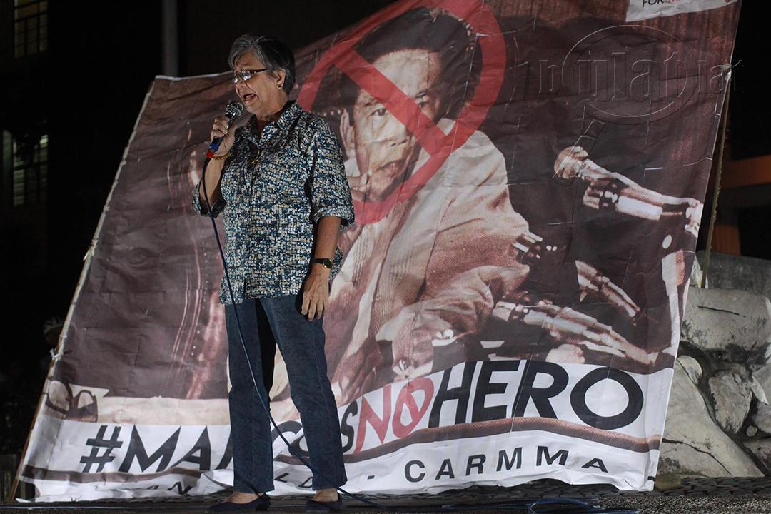 """Edita Burgos, business manager of anti-Marcos newspapers We Forum and Malaya, says: """"Numero lang 'yan. Hindi 'yan ang katotohanan."""" (Photo by Gino Estella / Bulatlat)"""