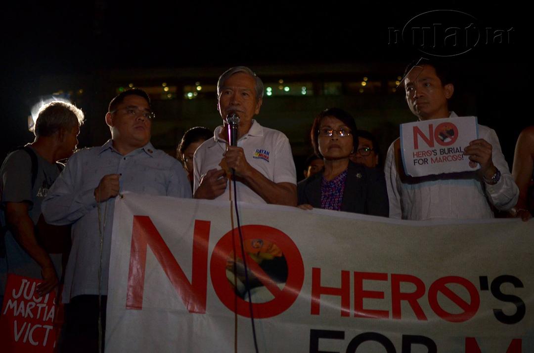 Makabayan President Satur Ocampo calls on the Filipino people to condemn the Supreme Court's betrayal. (Photo by Loi Manalansan / Bulatlat)