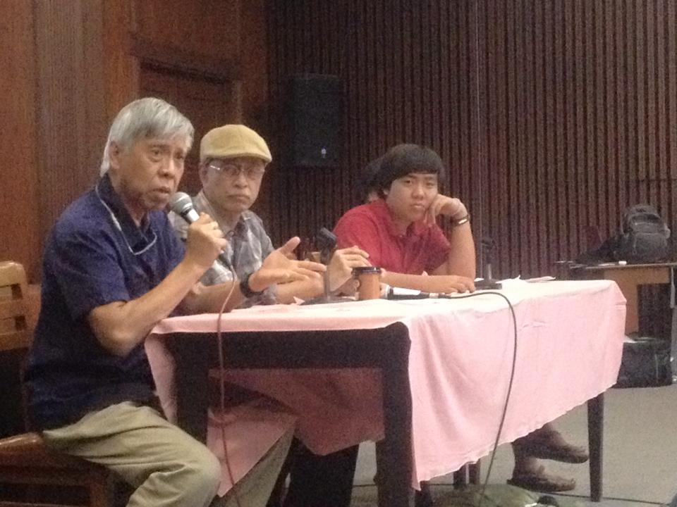 L-R: NDFP peace consultant Alan Jazmines, Bonifacio Ilagan, Ben Te (Photo courtesy of Kathy Yamzon)