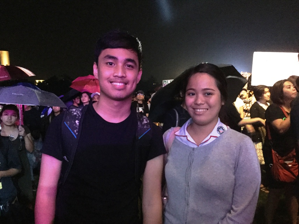 Fidel Feria and Shala Oña, students of Colegio de San Juan de Letran. (Photo by BULATLAT)
