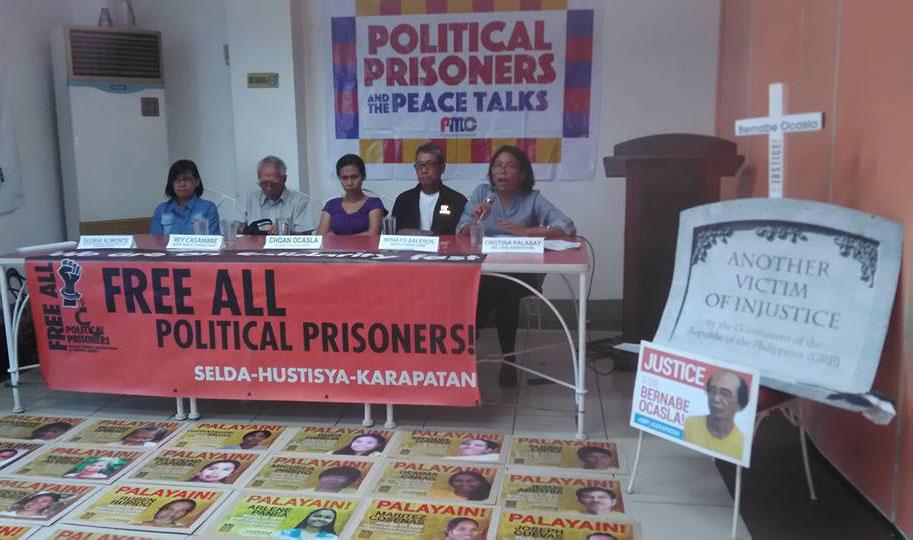 L-R Gloria Almonte, Rey Claro Casambre, Choan Ocasla, Renato Baleros and Cristina Palabay call for the release of all political prisoners in a press conference, Dec. 2. (photo by Cynthia Espiritu/ Pinoy Media Center)