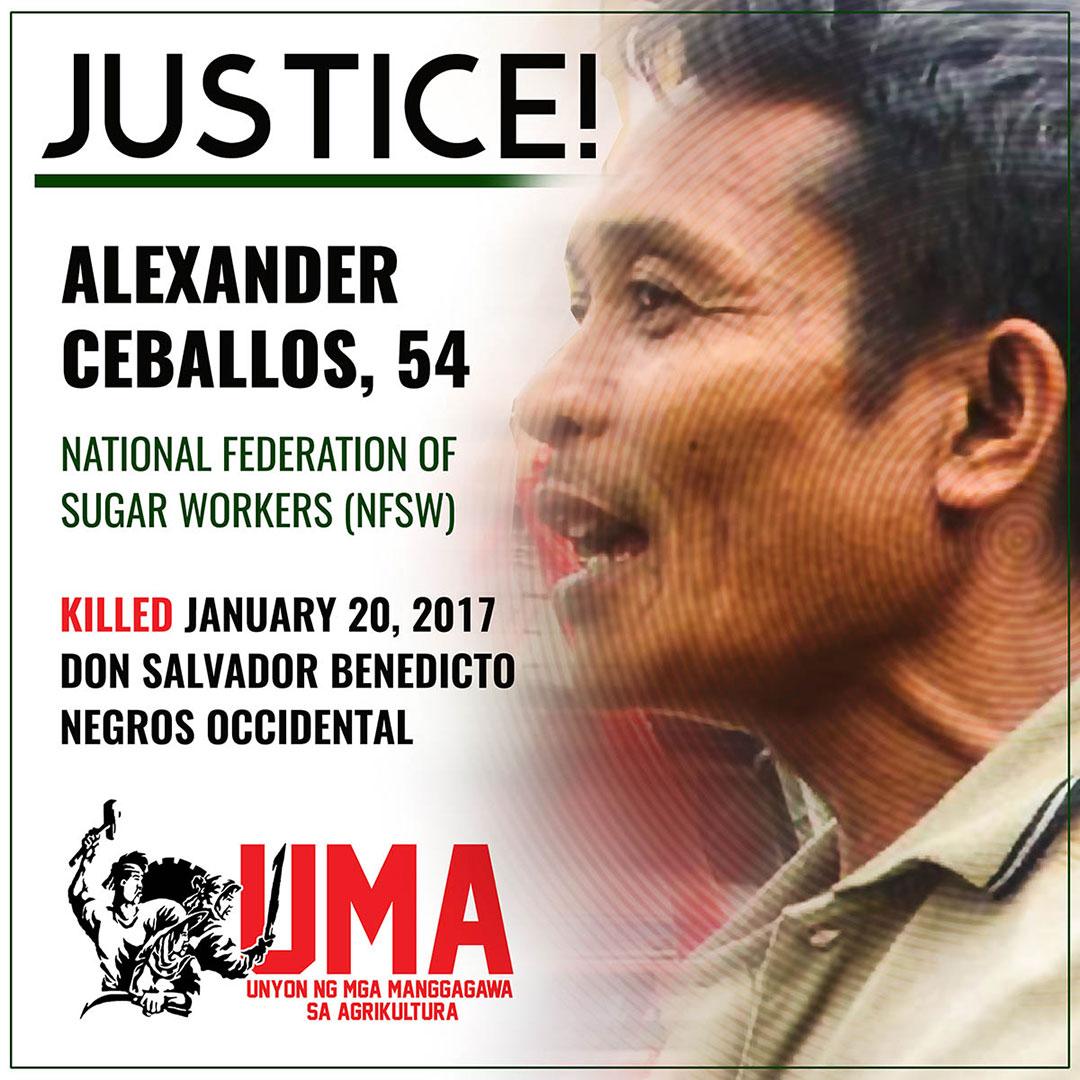 Unyon ng Manggagawa sa Agrikultura (Uma) calls for justice for Alexander Ceballos.
