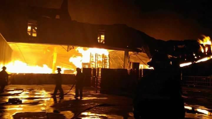 Photo of burning HTI building as posted in HTI (House Technology Industries) FB on Feb 3, 2017, at 12:24 am. (Accessed on Feb 23, 2017)