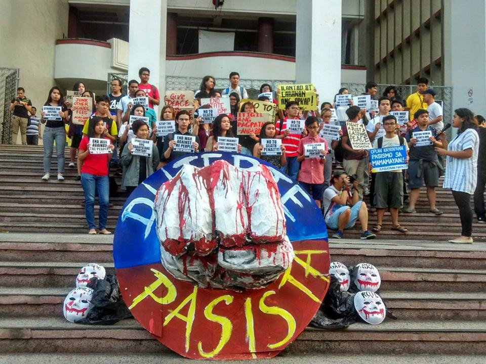 UP students led by Kabataan Partylist stage a protest at the AS steps in UP Diliman on March 10 (Contributed photo)
