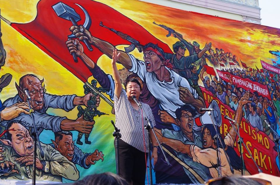 Social welfare secretary Judy Taguiwalo at Liwasang Bonifacio (Photo by Fred Dabu/Bulatlat)