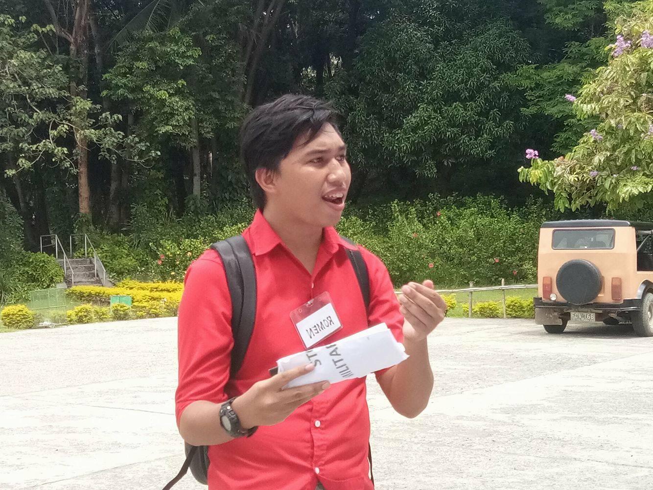 Romen Wabina of the UP Mindanao Student Council (Photo by Daniel Boone/Bulatlat)