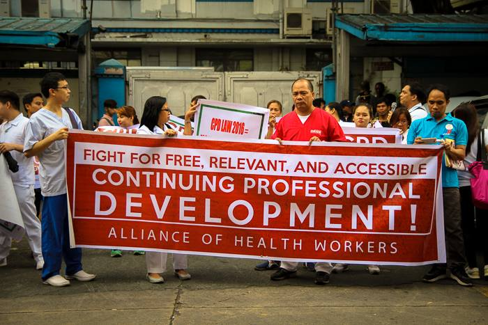 Members of the Alliance of Health Workers in front of the Professional Regulation Commission in Manila. (Contributed photo)