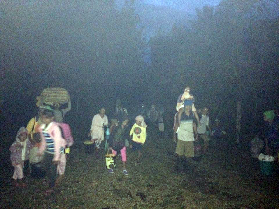 Evacuees make their way to the Simuwao community even before light on July 6,  2017 (Contributed photo)