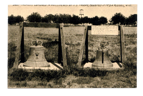 Two Balangiga bells exhibited at Fort D.A. Russel, now F. E. Warren Air Force Base. (Photo from the Wikimedia Commons.)