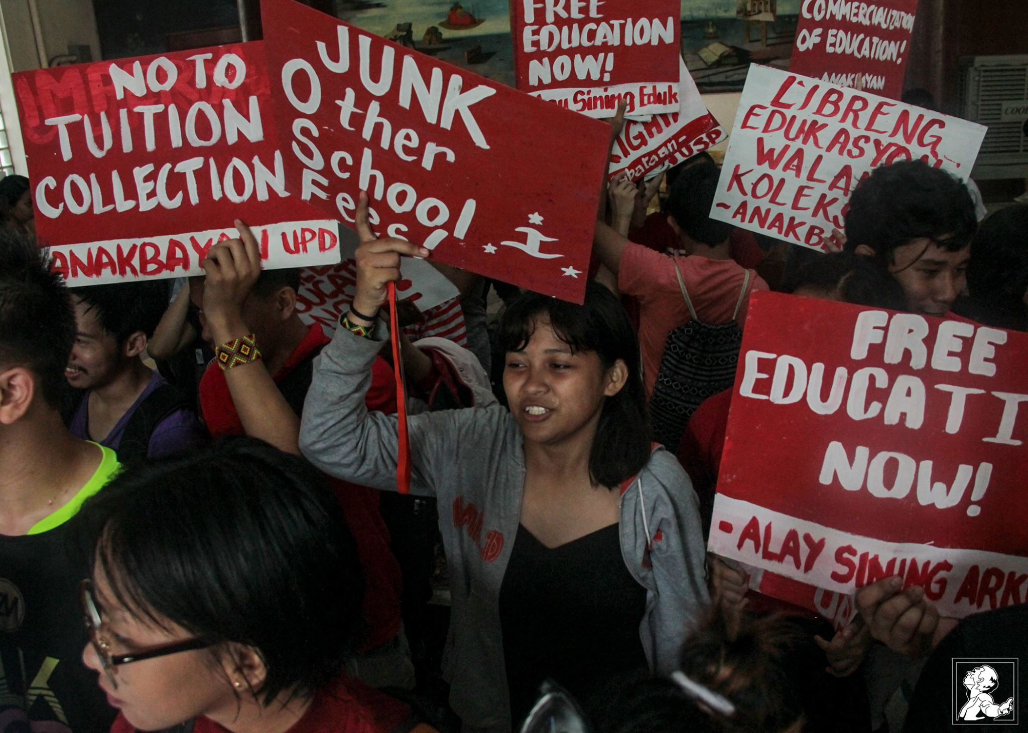UP students staged a protest at the Palma Hall Steps on Aug. 4, to denounce the collection of fees in the state university, in spite of the allocation of funds for tuition subsidy (Photo courtesy of Patricia Pobre/Philippine Collegian)