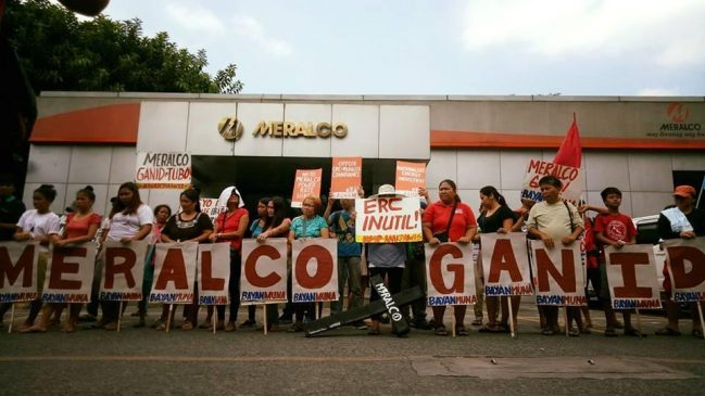 'Meralco, Ganid' banner during a mobilization in front of Meralco Kamias office on April 2017. Photo: Clemente Bautista