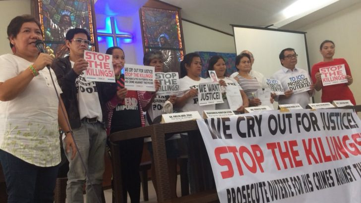 Kin of 'Tokhang' victims file raps vs. Duterte before ICC