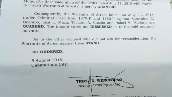Double murder charge against Makabayan 4 dismissed