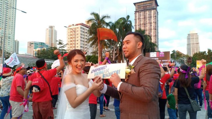 Newly-weds join One Billion Rising