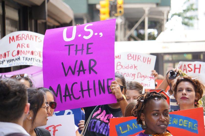 US war machine placard