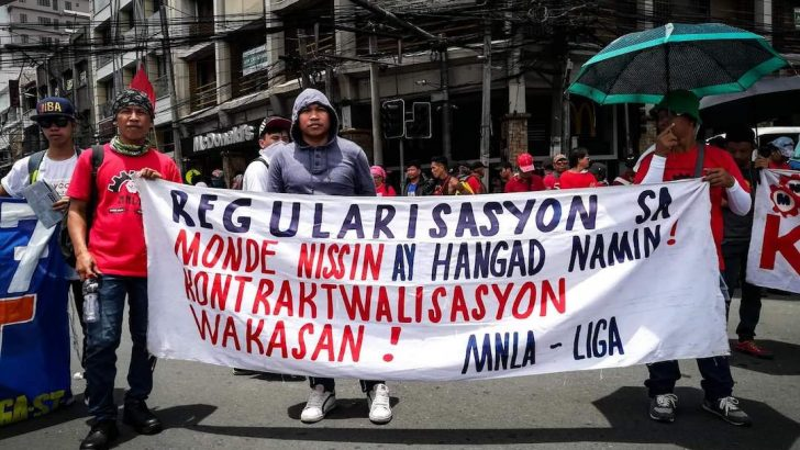 Monde Nissin workers stage 2nd strike for regularization