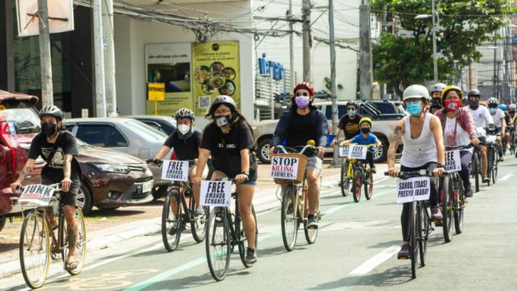 Artists pedal for detained colleagues' freedom